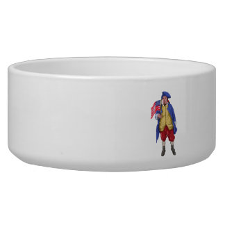 American Patriot Shouting Holding Flag Watercolor Pet Food Bowl