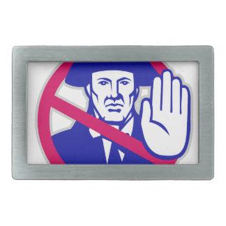 American Patriot Stop Sign Retro Rectangular Belt Buckles