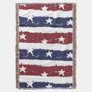 American Patriotic Distressed Stripes Throw