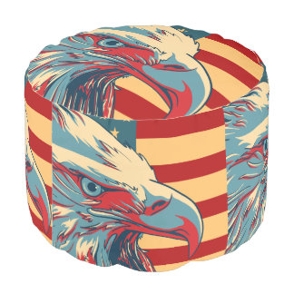 American Patriotic Eagle Bald Flag Pouf