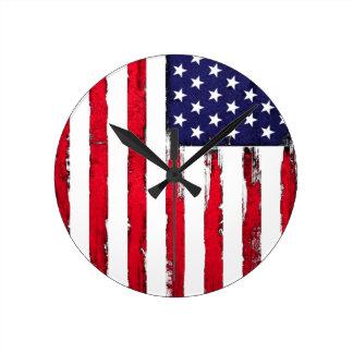 American Patriotic Grunge flag Round Clock