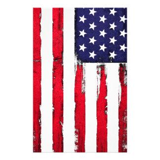 American Patriotic Grunge flag Stationery