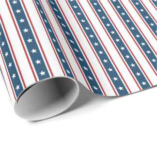 American Patriotic Stars and Stripes Pattern Wrapping Paper