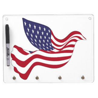AMERICAN PEACE DOVE DRY ERASE BOARD WITH KEYCHAIN HOLDER