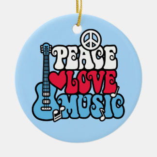 American Peace Love Music Ceramic Ornament