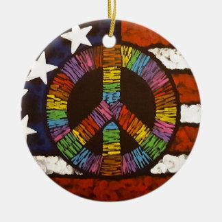 American Peace Round Ceramic Ornament