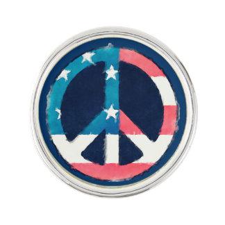 American Peace Sign grunge Lapel Pin
