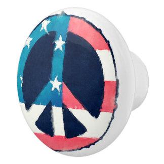 American Peace Sign grunge + your ideas Ceramic Knob