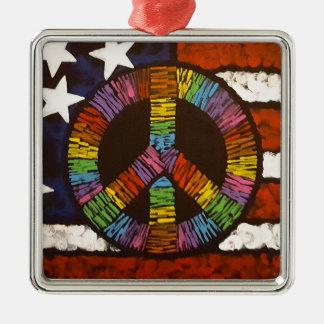 American Peace Silver-Colored Square Ornament