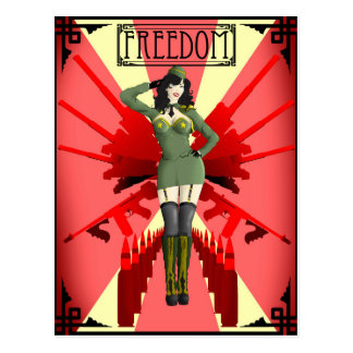 American Pinup Freedom Postcard