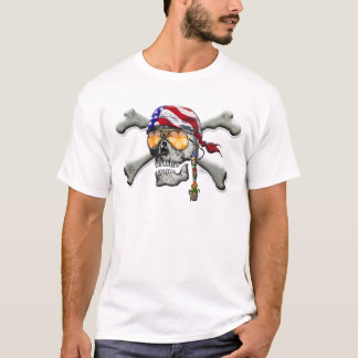 American Pirate Scull and Bones T-Shirt