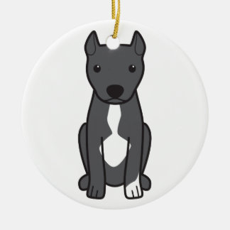 American Pit Bull Terrier (Cropped Ears) Ceramic Ornament