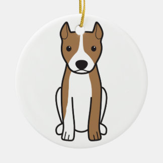 American Pit Bull Terrier (Cropped Ears) Round Ceramic Ornament