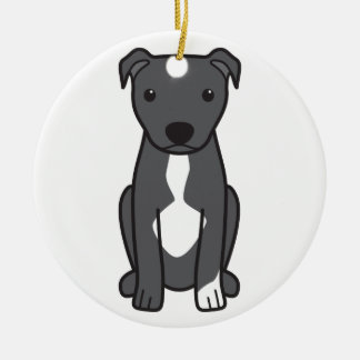 American Pit Bull Terrier (Natural Ears) Round Ceramic Ornament