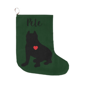 American Pit Bull Terrier Silhouette Large Christmas Stocking
