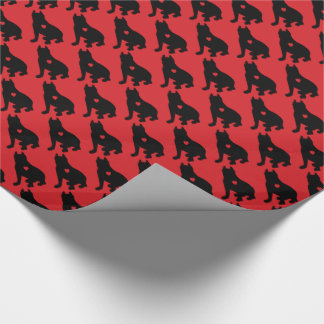 American Pit Bull Terrier Silhouette Wrapping Paper