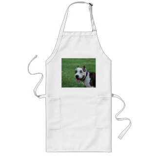 american pit bull terrier smiling long apron
