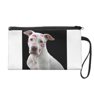 american pit bull terrier with kisses wristlet