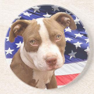 American Pitbull puppy Beverage Coaster