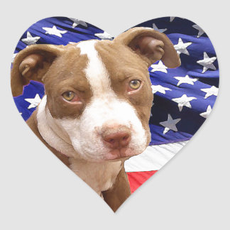 American Pitbull puppy Heart Sticker