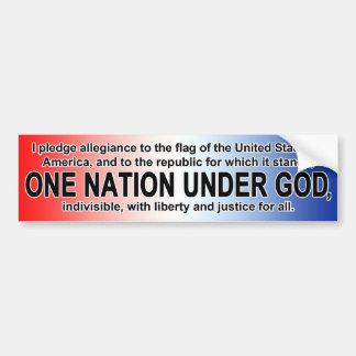 American Pledge of Allegiance One Nation Under God Bumper Sticker