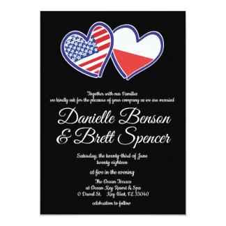 American Polish Love Wedding Invitation