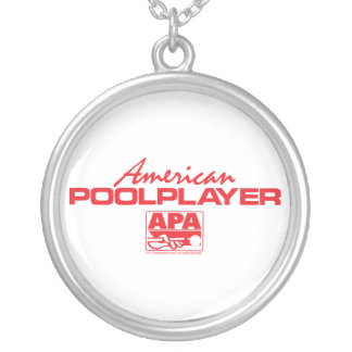 American Pool Player - Red Silver Plated Necklace