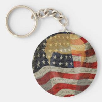 American president basic round button keychain