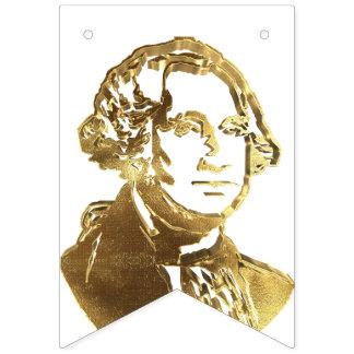 American President George Washington Portrait Gold Bunting Flags