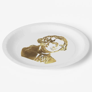 American President George Washington Portrait Gold Paper Plate