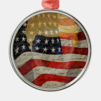 American president Silver-Colored round ornament