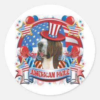 American Pride Bassett Hound Round Sticker