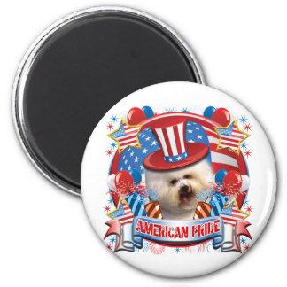 American Pride Bichon Frise 2 Inch Round Magnet