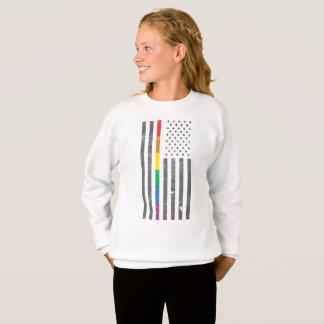 American Pride Flag Girl's Sweatshirt