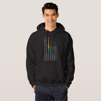 American Pride Flag Men's Basic Dark Hoodie
