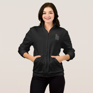 American Pride Flag Women's Dark Fleece Zip Jacket