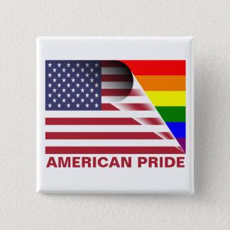 American Pride LGBTQ Rainbow Under U.S. Flag 2 Inch Square Button