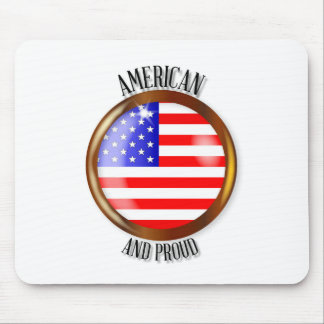 American Proud Flag Button Mouse Pad