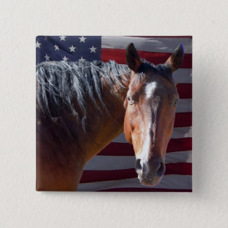 American Quarter Horse and Flag - Patriotic 2 Inch Square Button