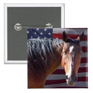 American Quarter Horse and Flag - Patriotic 2 Inch Square Button