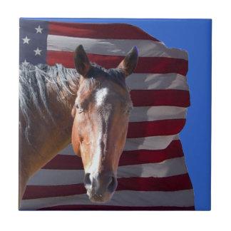 American Quarter Horse and Flag - Patriotic Tiles