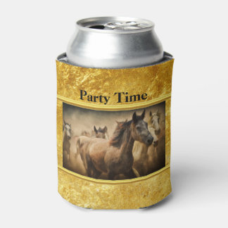 American Quarter Horse with a gold foil design Can Cooler