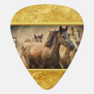 American Quarter Horse with a gold foil design Guitar Pick