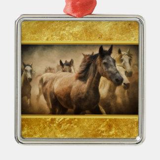 American Quarter Horse with a gold foil design Metal Ornament
