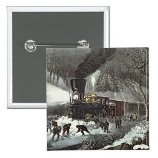 American Railroad Scene, 1871 2 Inch Square Button