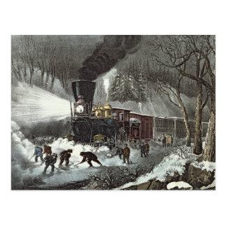 American Railroad Scene, 1871 Postcard