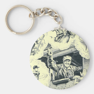 American Railroad Train Engineer Basic Round Button Keychain