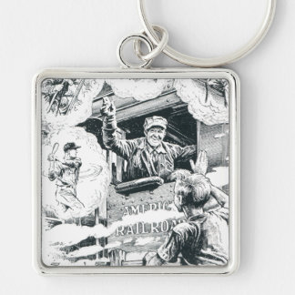 American Railroad Train Engineer Silver-Colored Square Keychain