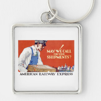 American Railway Express, May We Call Silver-Colored Square Keychain