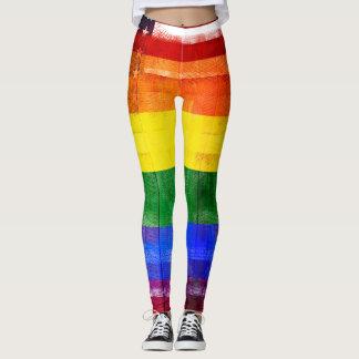 American Rainbow Flag | Wood Grain & Paintstrokes Leggings